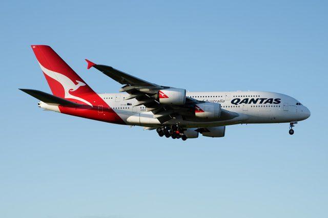 LONDON / UNITED KINGDOM - APRIL 26, 2016: Qantas Airways Airbus A380 VH-OQD passenger plane landing at London Heathrow Airport