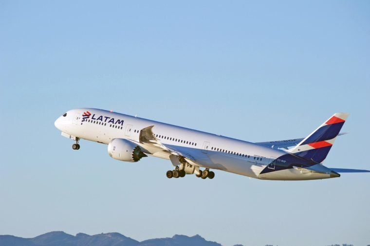 LOS ANGELES/CALIFORNIA - JANUARY 14, 2017: LATAM Airlines Boeing 787-9 Dreamliner aircraft is airborne as it departs Los Angeles International Airport, Los Angeles, California USA