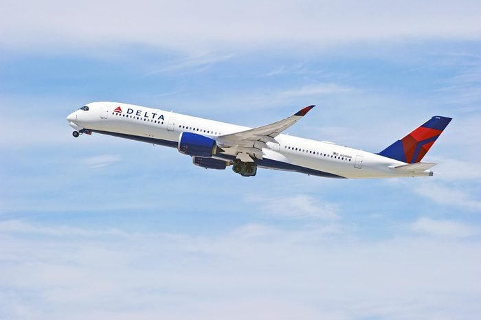 LOS ANGELES/CALIFORNIA - JULY 21, 2018: Delta Air Lines Airbus A350 is airborne as it departs Los Angeles International Airport. Los Angeles, California USA
