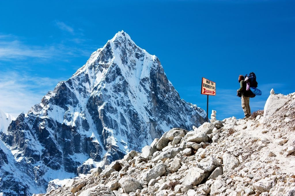 signpost way to mount everest b.c., Khumbu glacier and man, Nepal Himalayas mountains