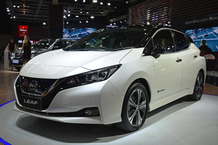MANILA, PH - OCT. 27: Nissan Leaf electric car at Philippine International Motor Show on October 27, 2018 in Manila, Philippines. Philippine International Motor Show is a showcase of latest cars.