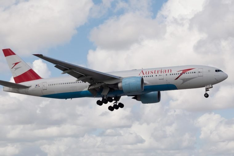 MIAMI, USA - October 22, 2015: Austrian Airlines Boeing 777 Landing at the Miami International Airport.