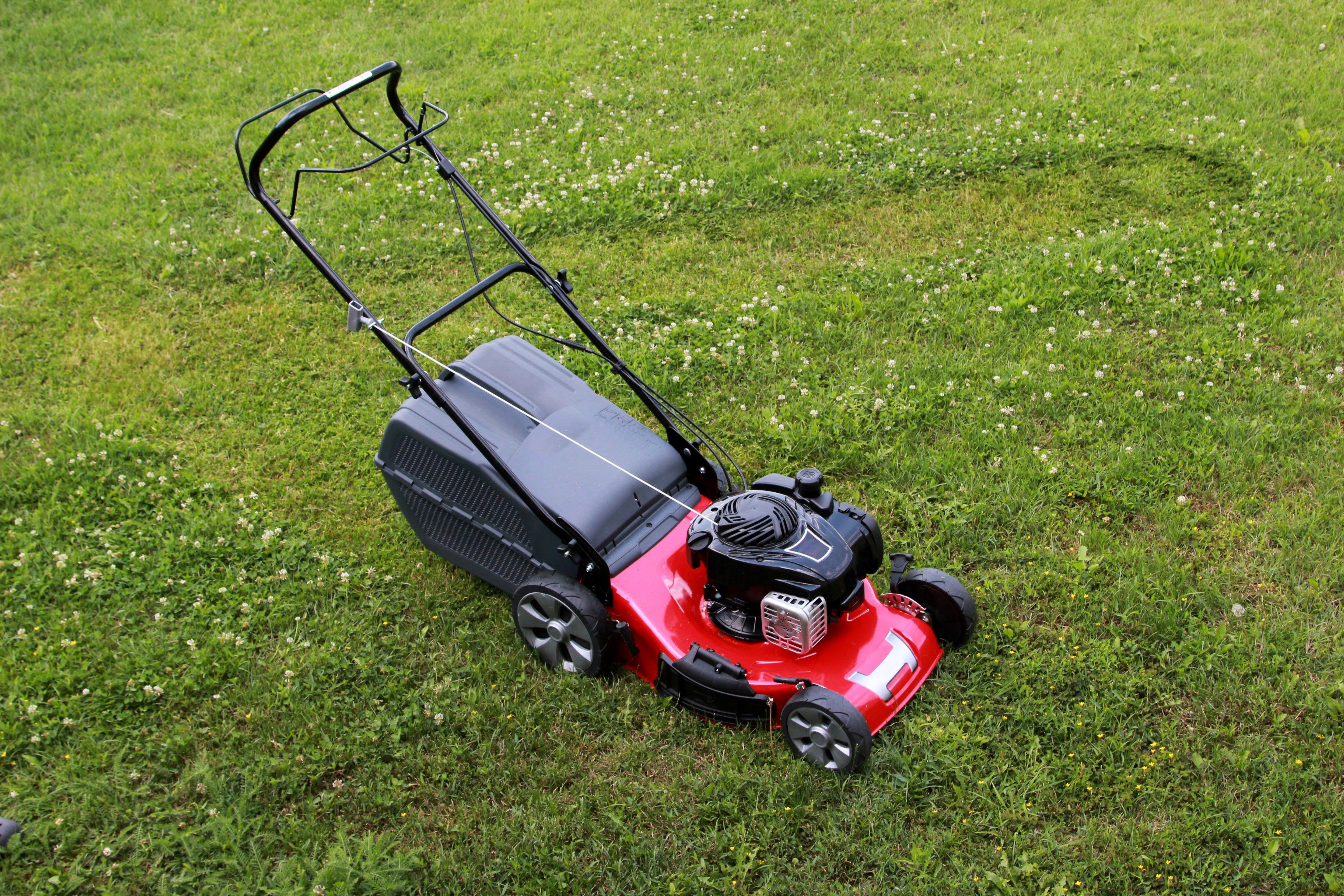 Lawn mower on the grass during the summer day