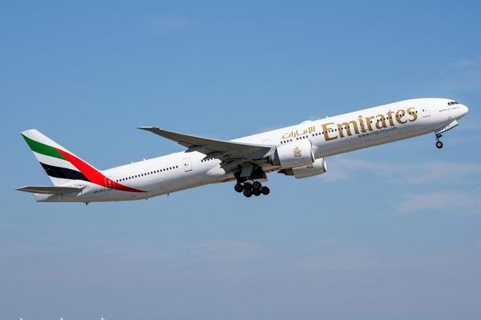 MUNICH / GERMANY - JULY 18, 2017: Emirates airlines Boeing 777-300ER A6-ECJ passenger plane departure at Munich Airport