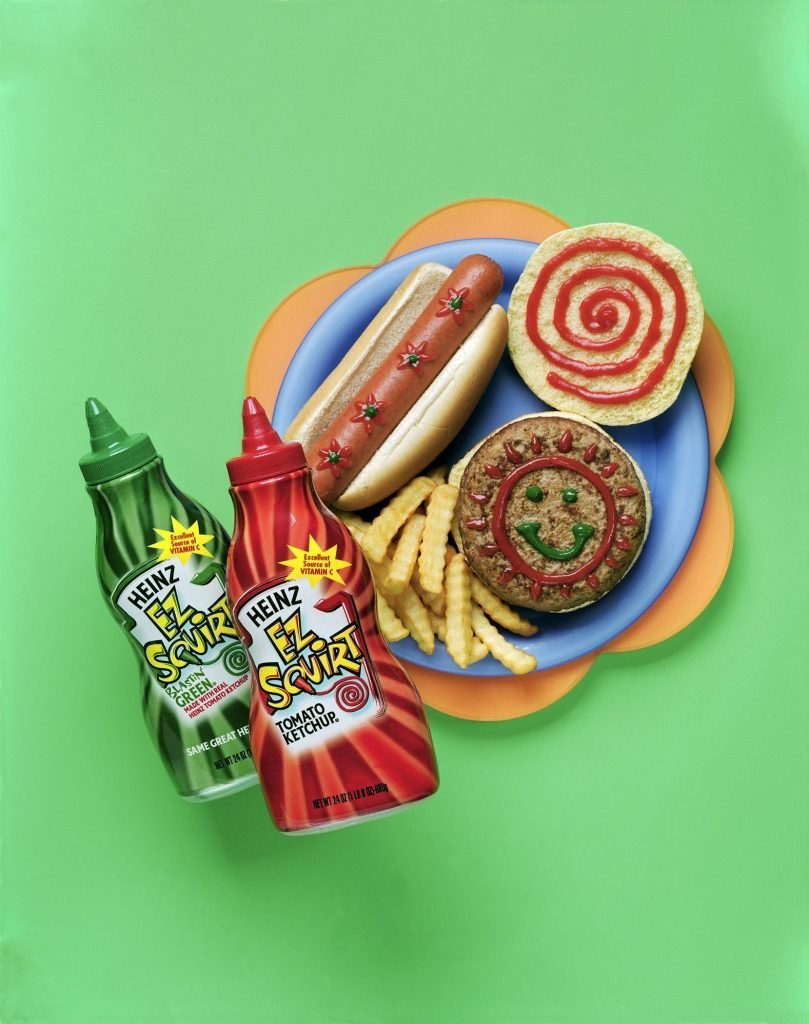 """NEW HEINZ """"EZ SQUIRT"""" KETCHUP FEATURING CHILD CUSTOMIZED BOTTLES FOR BETTER CONTROL, MORE FUN AT MEALTIME"""