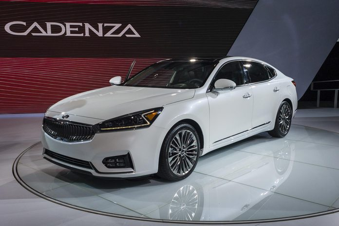 NEW YORK, USA - MARCH 23, 2016: Kia Cadenza on display during the New York International Auto Show at the Jacob Javits Center.