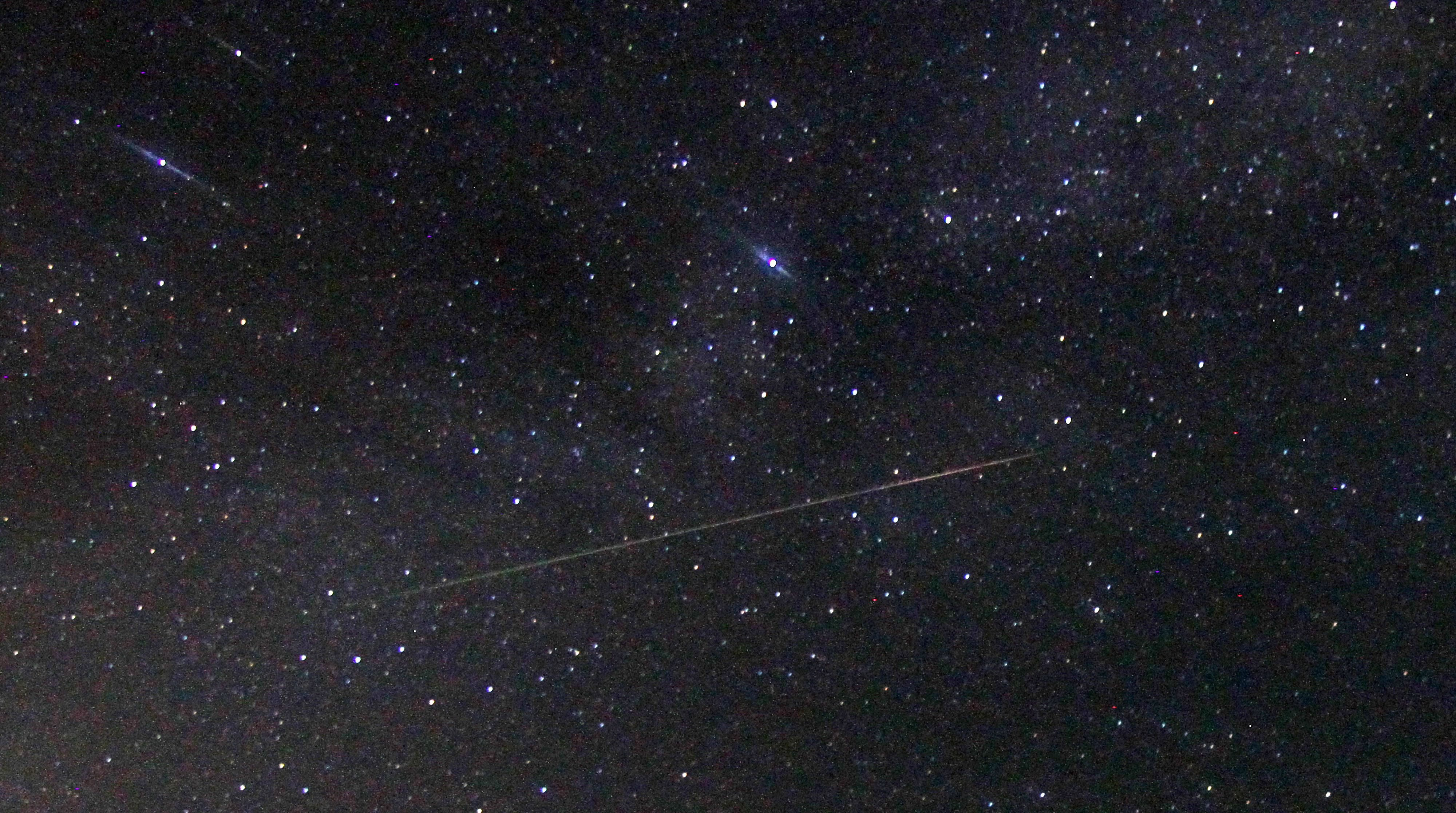 Perseid meteor crosses the sky