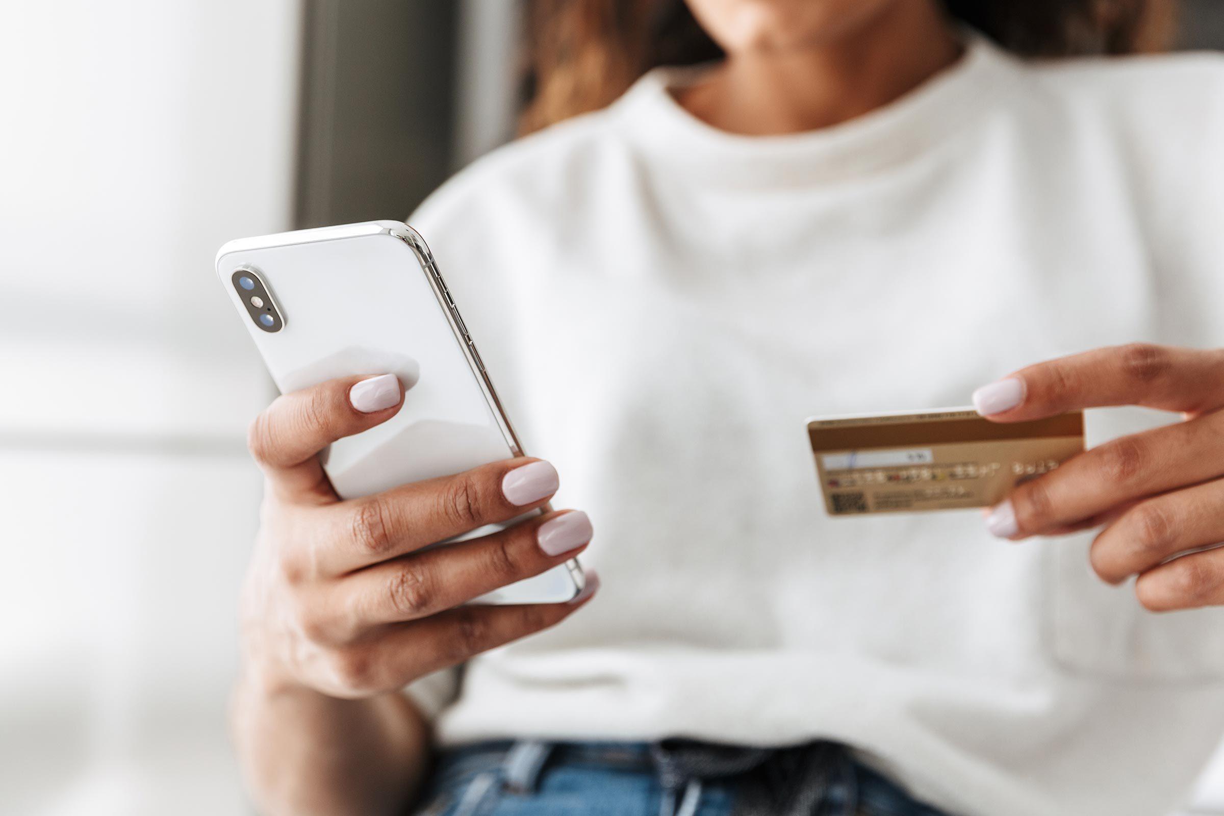 woman card phone