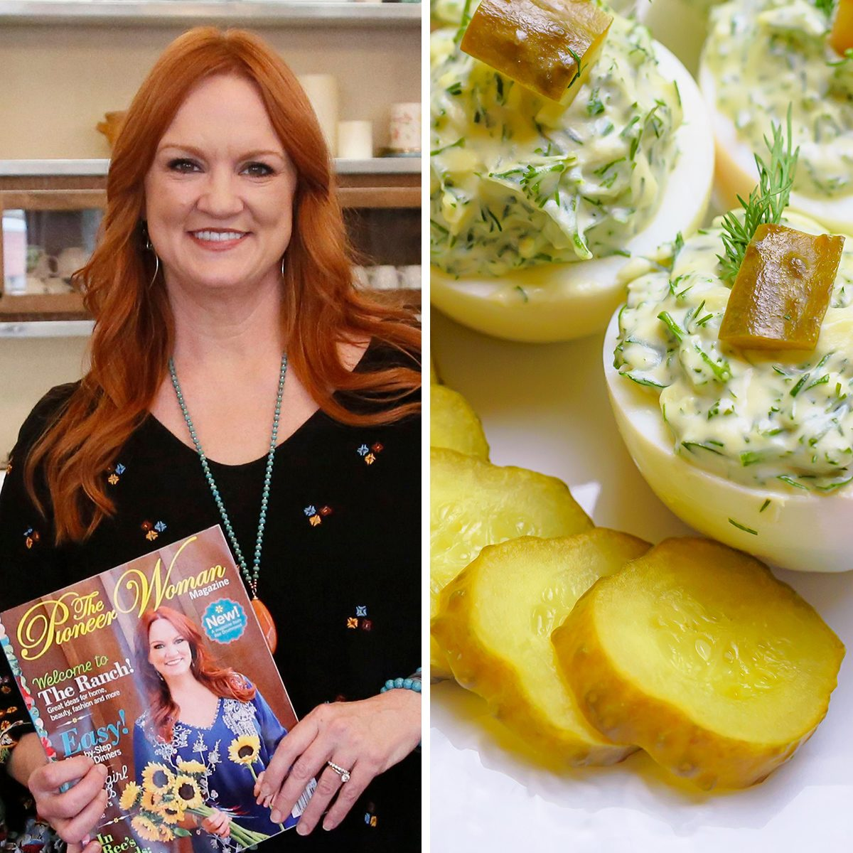 """Deviled eggs with greens and pickles; Shutterstock ID 1346998658; Job (TFH, TOH, RD, BNB, CWM, CM): TOH Mandatory Credit: Photo by Sue Ogrocki/AP/REX/Shutterstock (9704786as) Ree Drummond is pictured during an interview in Pawhuska, Okla, . Growing up in a town she considered """"too small,"""" Drummond sought the bright lights of a city, and wound up in an even smaller town where she has built a virtual media empire on the Plains of northeast Oklahoma Pioneer Woman, Pawhuska, USA - 14 Jun 2017"""