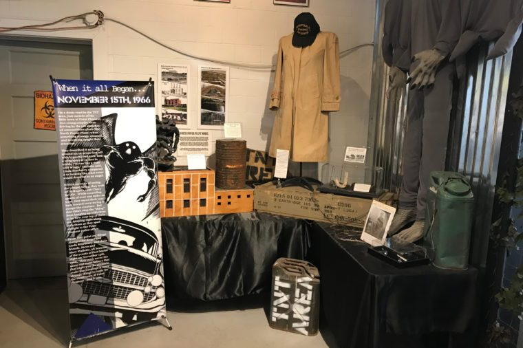 Point Pleasant, West Virginia / USA - 04/11/2019: Artifacts and movie props at the mothman museum and downtown