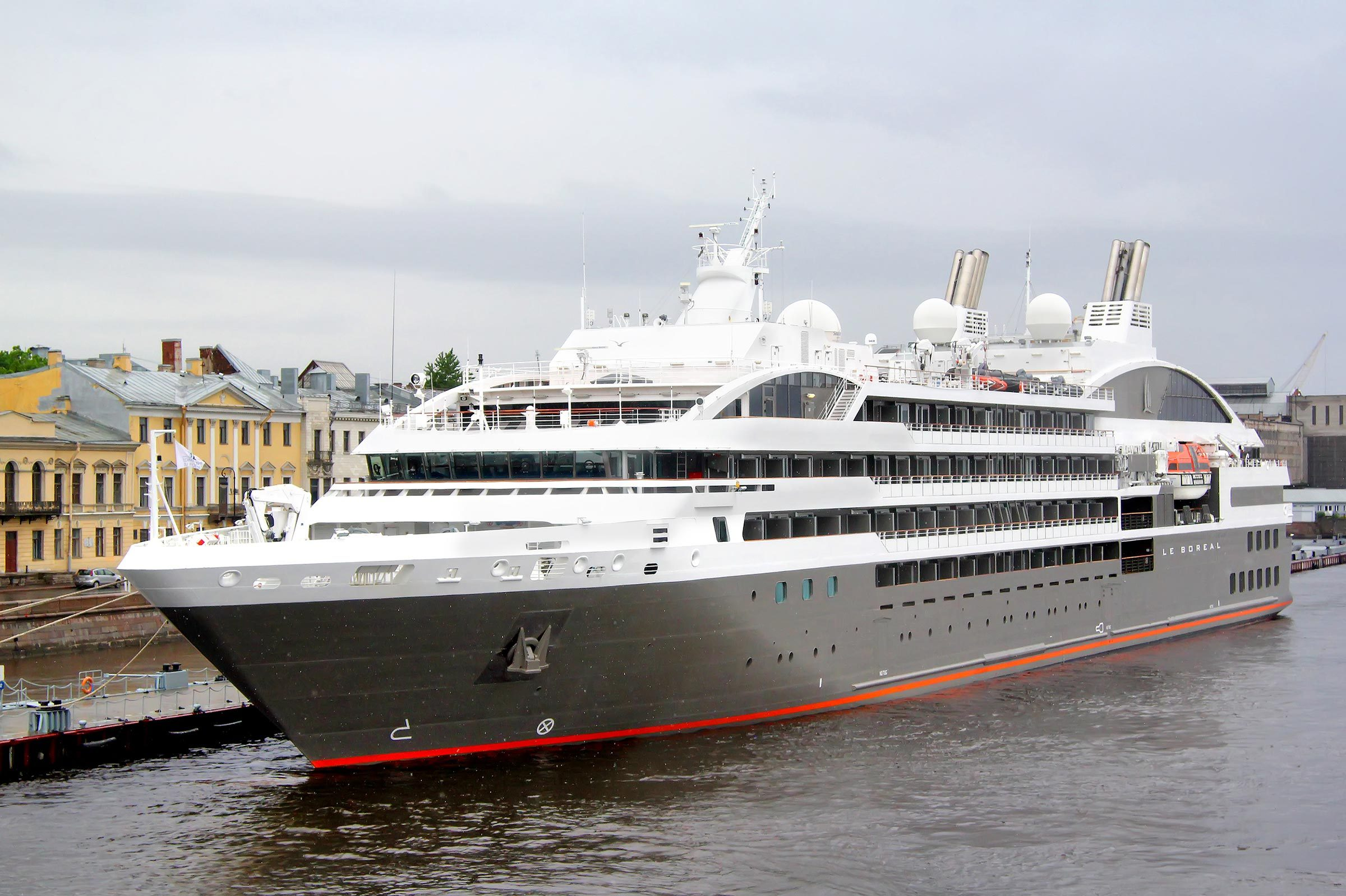 SAINT PETERSBURG - MAY 26, 2013: Le Boreal cruise ship in at the Neva river in Saint Petersburg, Russia.