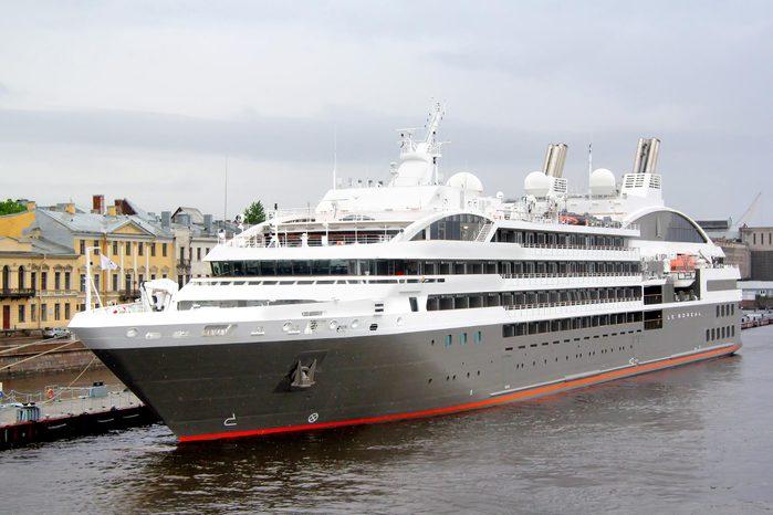 SAINT PETERSBURG - MAY 26, 2013: Le Boreal cruise ship in at the Neva river in Saint Petersburg, Russia.