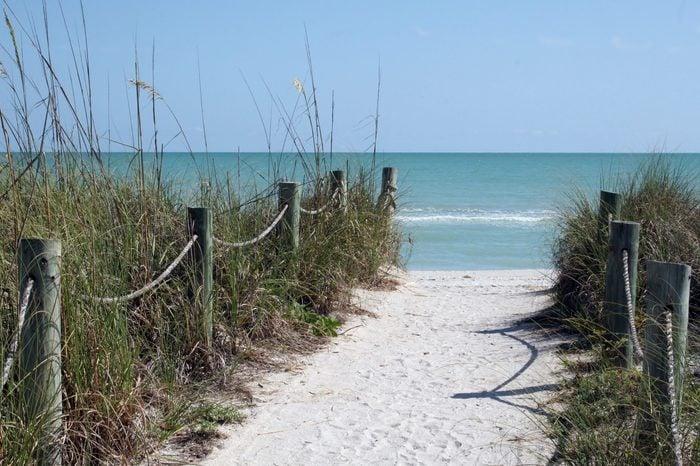 Sandy Path to a White Sand Beach