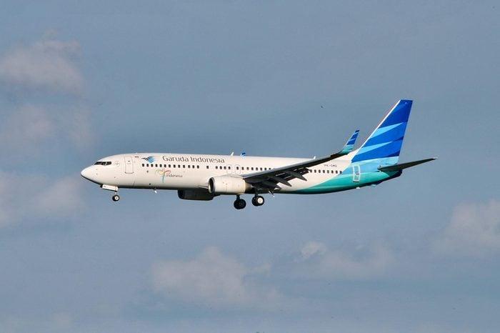 SEPANG, MALAYSIA - JANUARY 8, 2017: Garuda Indonesia Airlines plane Boeing 737-8U3, Registration name PK-GMD, arrive at KLIA airport on January 8, 2017 in KLIA, Sepang, Malaysia.
