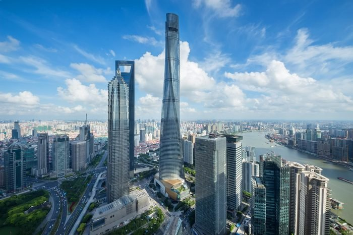 SHANGHAI - AUG 13, 2015: Jin Mao Tower, Shanghai tower, Shanghai World Financial Center and river quay, view from IFC hotel, 990 skyscrapers are in Shanghai