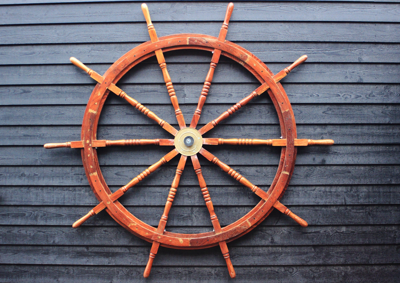 Old coaster steering wheel made of hardwood