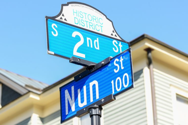 WILMINGTON, NC - March 22, 2018: Signs depicting the corner of 2nd Street and Nun Street in the Historic District of Wilmington, NC are a popular sight for the similarity to 'second to none'