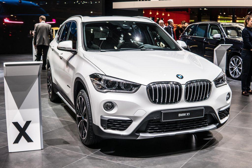 Geneva, Switzerland, March 06, 2018: metallic white BMW X1 at 88th Geneva International Motor Show GIMS, manufactured and marketed by BMW
