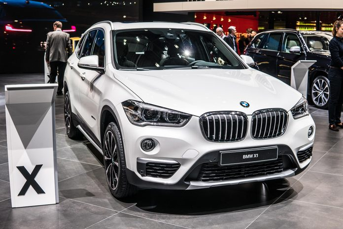 Geneva, Switzerland, March 06, 2018: metallic white BMW X1 at 88th Geneva International Motor Show GIMS, manufactured and marketed by BMW