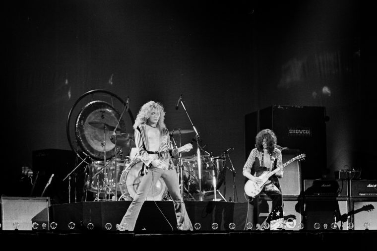 Uniondale, NY / USA - February 13, 1975: Robert Plant and Jimmy Page of legendary rock band Led Zeppelin perform at Nassau Coliseum on their 1975 North American tour
