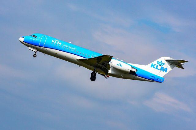 FRANKFURT,GERMANY-SEPTEMBER 30,2017:KLM Cityhopper Fokker 70.KLM Royal Dutch Airlines is the flag carrier airline of the Netherlands.