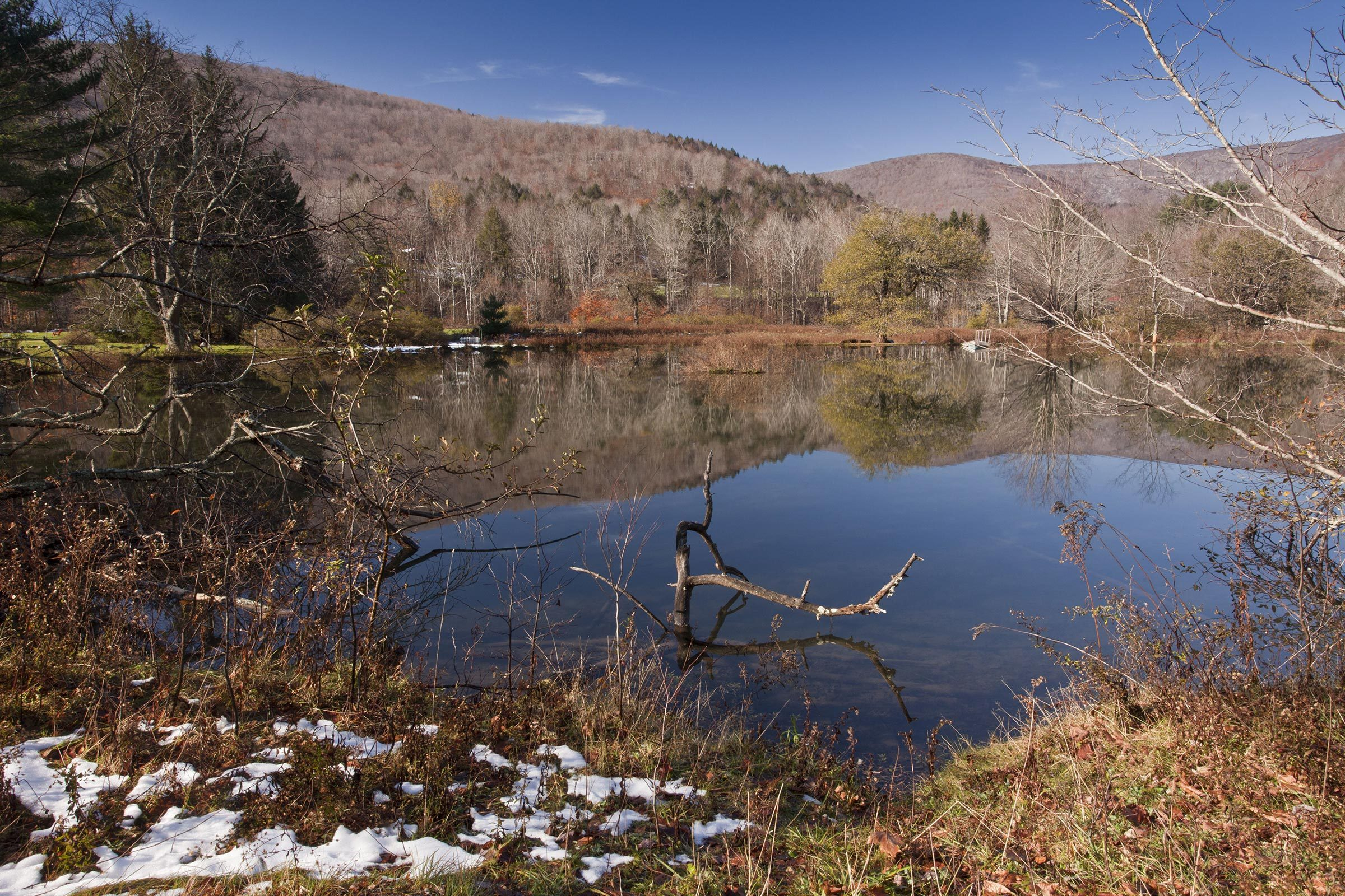 Nature Melting snow at edge of lake in woodland habitat, Oliverea, Catskill State Park, Catskill Mountains, New York State, U.S.A.