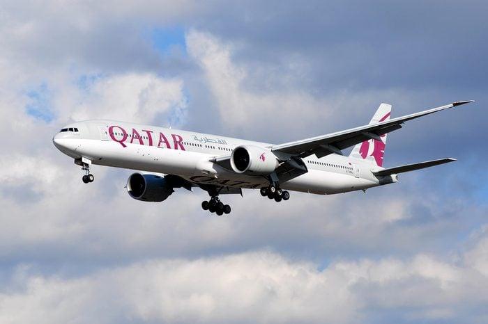 FRANKFURT,GERMANY-FEBR 25:Boeing 777 of Qatar Airways above the Frankfurt airport on February 25,2016 in Frankfurt,Germany.Qatar Airways is the national airline of Qatar, based in Doha.