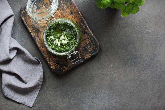 Pesto. Fresh homemade traditional pesto.Overhead view. Selective focus