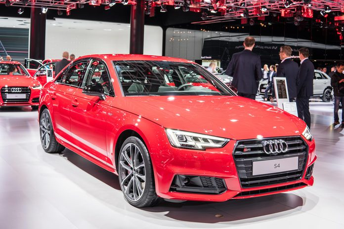 Frankfurt, Germany, September 13, 2017: metallic red Audi S4 Limousine at 67th International Motor Show (IAA)