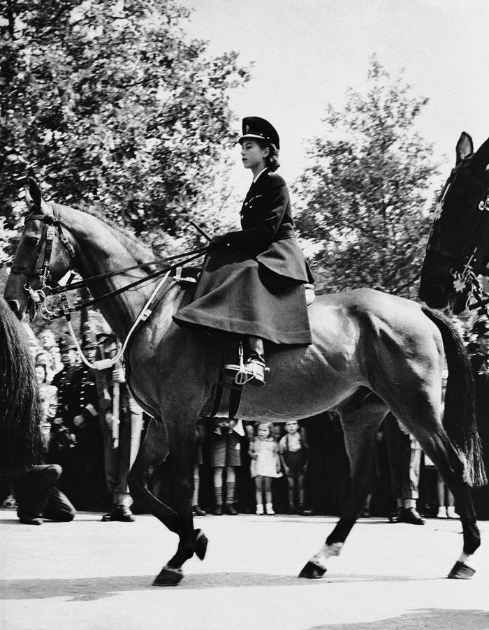 Princess Elizabeth in her first appearance on horseback