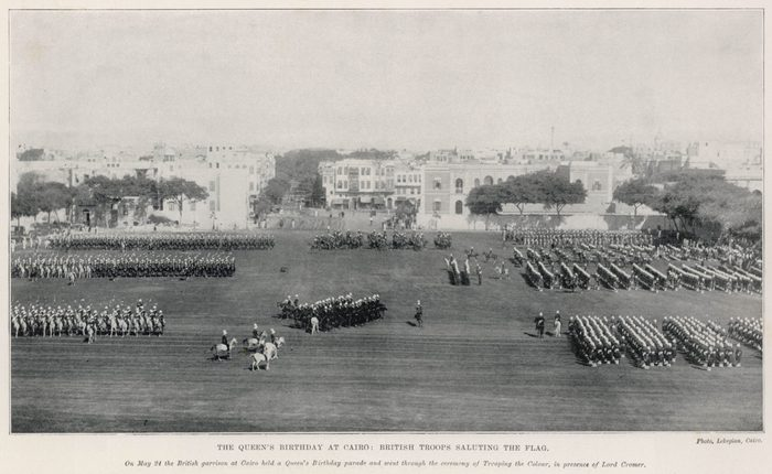 British Troops Saluting the Flag During the Queen's Birthday Celebrations in Cairo