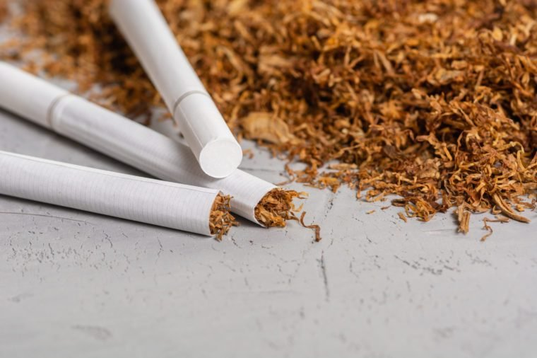 Macro View of the cigarettes and tobacco stack. The tobacco plant is part of the genus nicotiana and of the solanaceae (nightshade) family. Close up with copy paste space, in the gray background