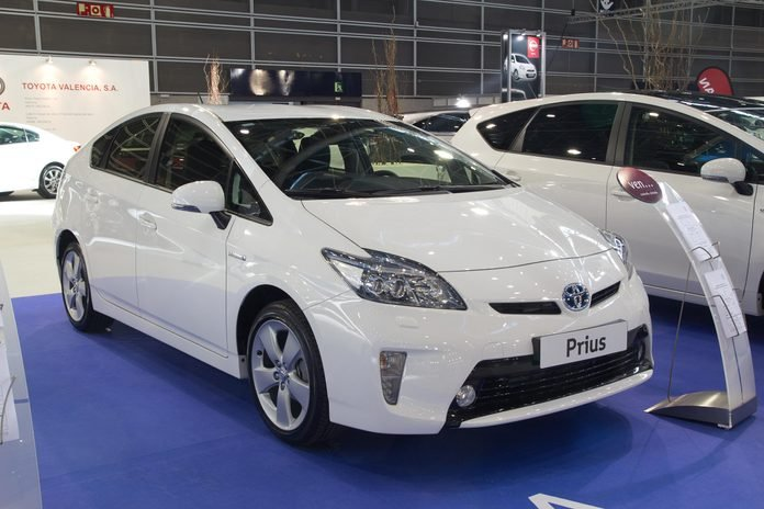 VALENCIA, SPAIN - DECEMBER 7 - A White 2012 Toyota Prius Hybrid Vehicle at the Valencia Car Show on December 7, 2012 in Valencia, Spain.