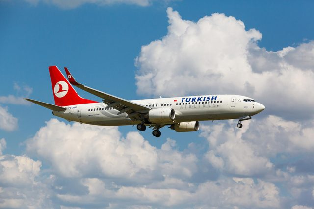 VNUKOVO, MOSCOW REGION, RUSSIA - 02 July, 2013: Airplanes at Vnukovo international airport. Turkish Airlines Boeing 737 landed on runway