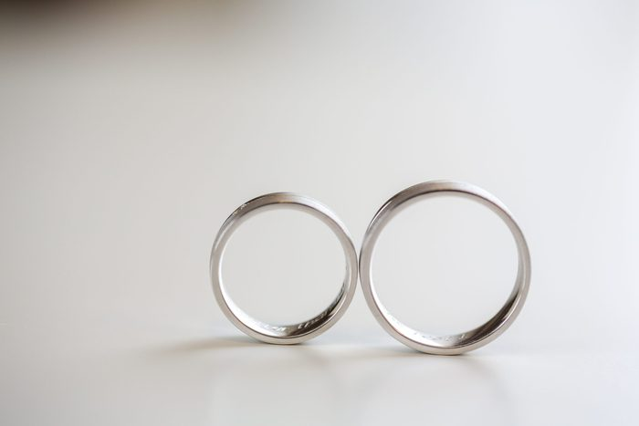 Wedding rings on isolated background