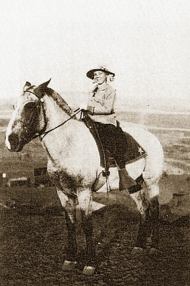 student traveling on horse to school vintage