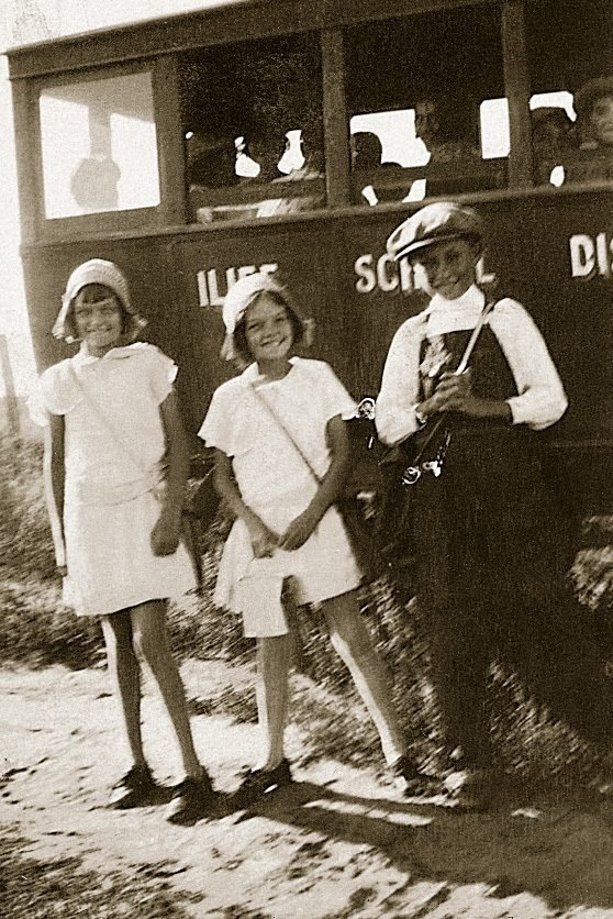vintage waiting for school bus