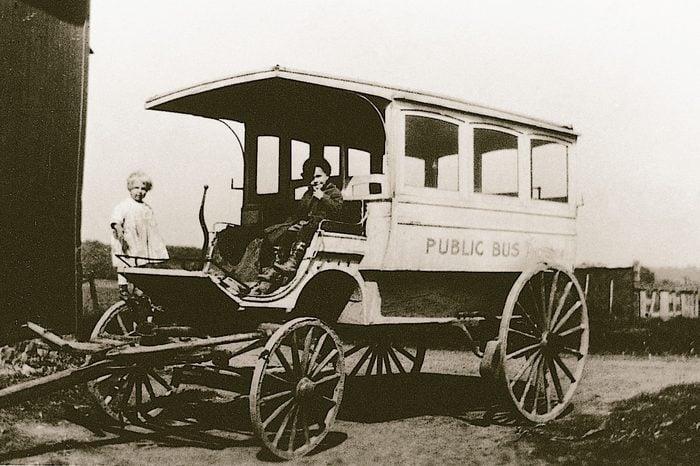 horse drawn school bus vintage