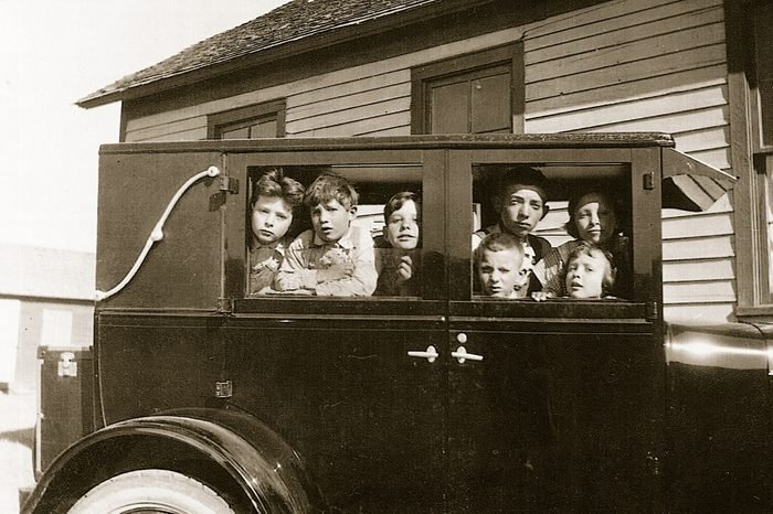 class in teacher's car vintage