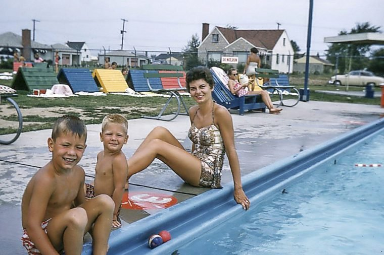 vintage family swimming pool
