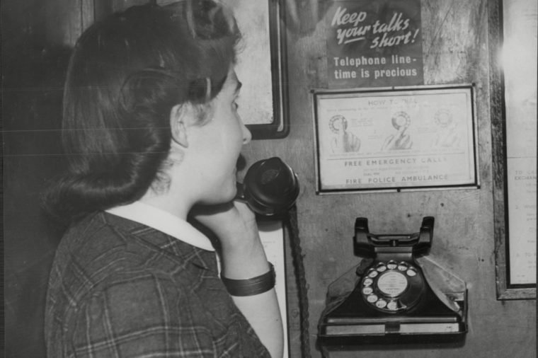 Woman On A Old Time Telephone 1943.