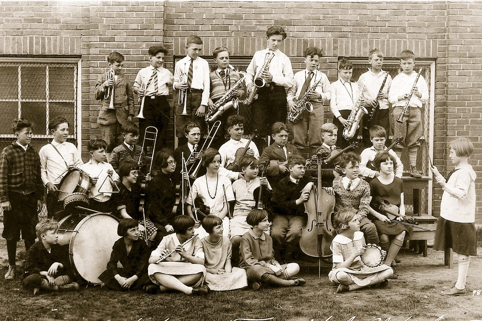 vintage school music class instruments