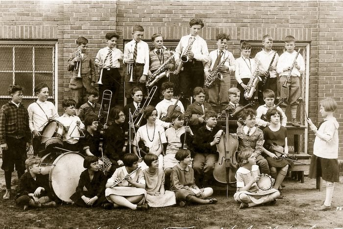 vintage school music class instruments
