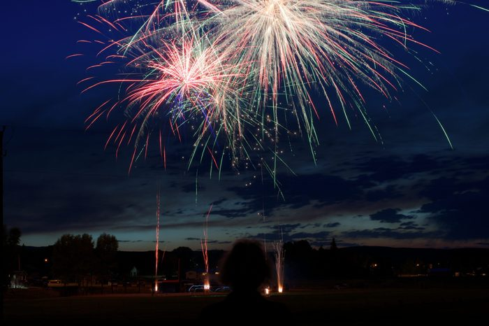 4th of July fireworks in a small town on a baseball field