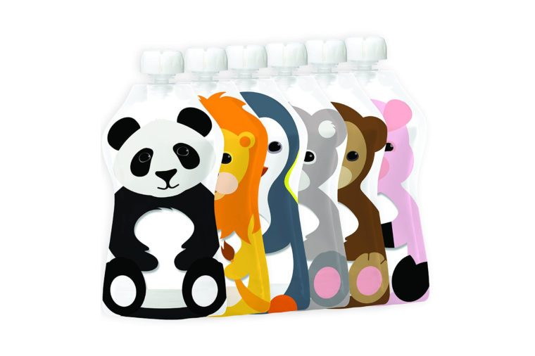 Squooshi Reusable Food Pouch animals