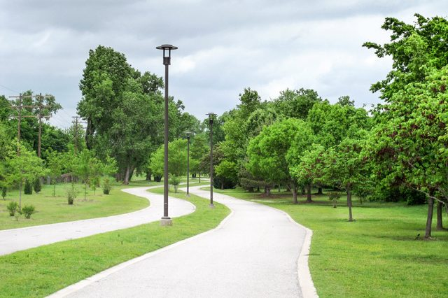 A walking pathway alongside the Arkansas River in Tulsa, Oklahoma