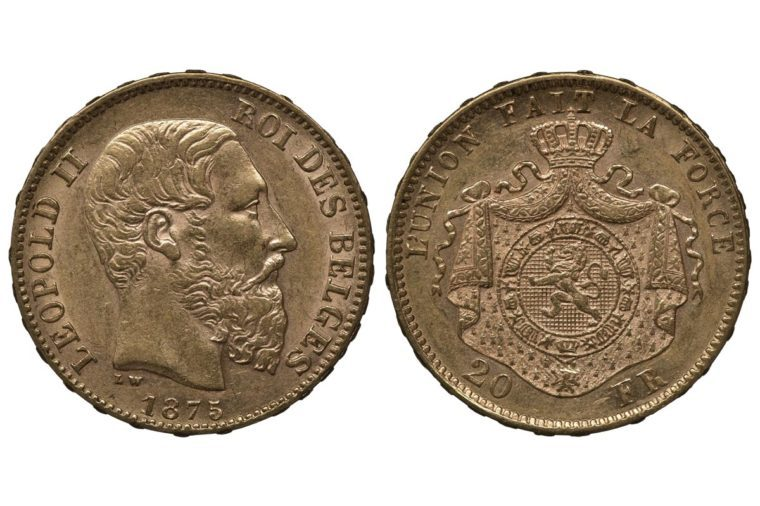 elgium Belgian golden coin 20 twenty francs 1875, head of King Leopold II right, coat of arms, lion surrounded by order chain in front of crowned mantle