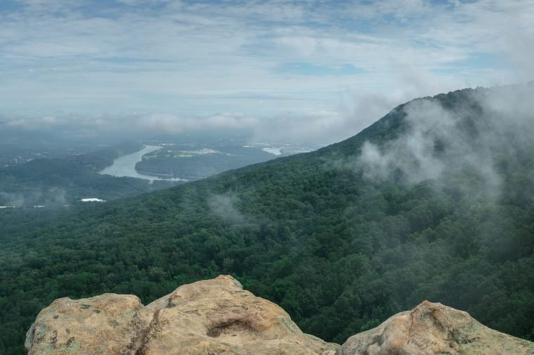 Panorama shot taken at Sunset Rock on Lookout Mountain in Chattanooga Tennessee. Misty morning overlooking the river.
