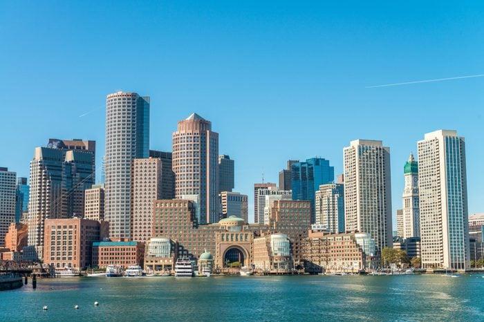Boston skyline as seen from ferry.