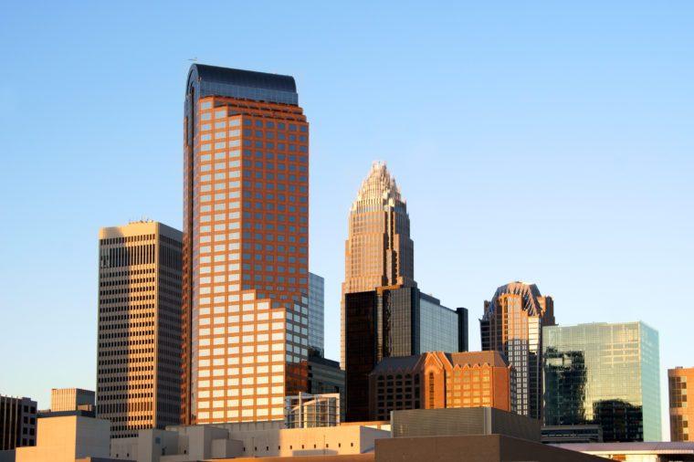 Charlotte, North Carolina, skyline in the afternoon sun.